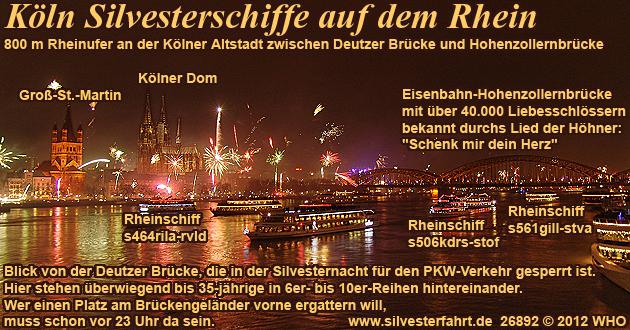 Silvester Köln auf dem Rhein, Schiff-Silvesterparty und Silvesterfeuerwerk