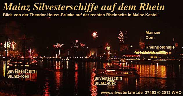 Silvesterschifffahrt bei Bingen, Rüdesheim, Wiesbaden und Mainz auf dem Rhein Feuerwerk Rheinschifffahrt
